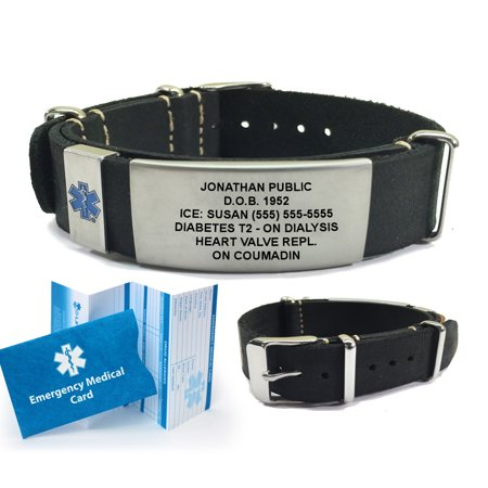 Leather NATO Medical Alert ID Bracelet. Custom Engraved! Choose Color! - Custom Jelly Bracelets
