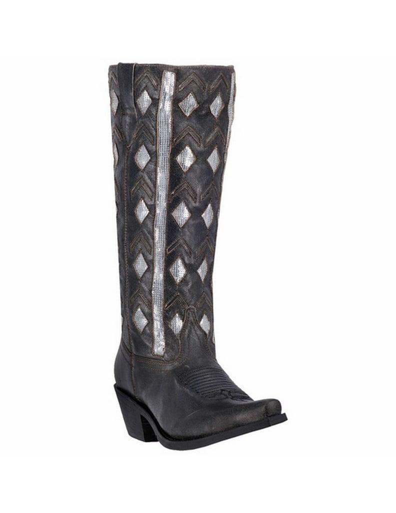 Laredo Western Boots Womens Diamond Inlay Snip Toe Zip Black 52029 by Laredo
