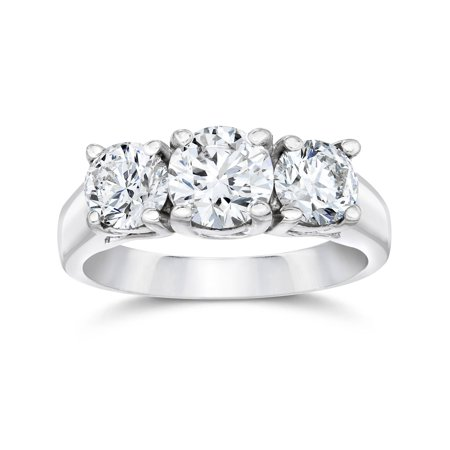 Pompeii3 1 3 4ct Three Stone Round Cut Diamond Engagement Ring 14k White Gold Solitaire