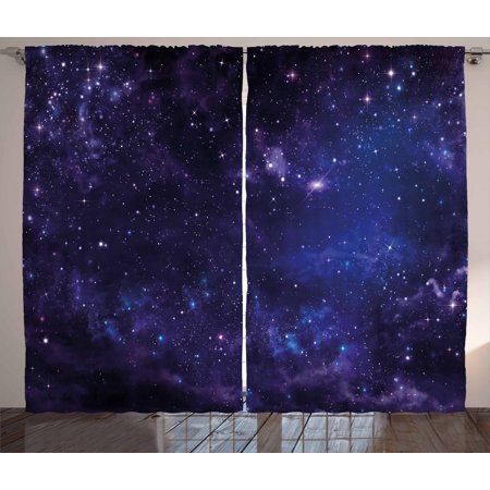 Galaxy Curtains 2 Panels Set, Celestial Stars in Night Sky Stardust in Clouds Magical Fantasy World of Space, Window Drapes for Living Room Bedroom, 108W X 84L Inches, Black Navy Blue, by Ambesonne