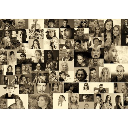 Canvas Print Photo Montage World Photo Album Population Faces Stretched Canvas 10 x - Halloween Photo Montages
