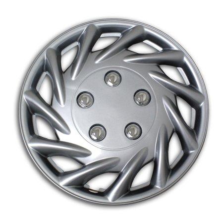 Set of 4  Metallic Silver Hubcaps 14