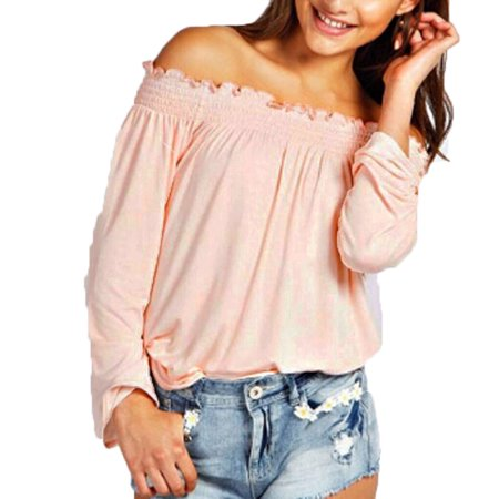 3ae7b437a25 Fresh look - Women s Fashion Casual Loose Shirred Off Shoulder Tops Long  Sleeve Blouse Shirts - Walmart.com