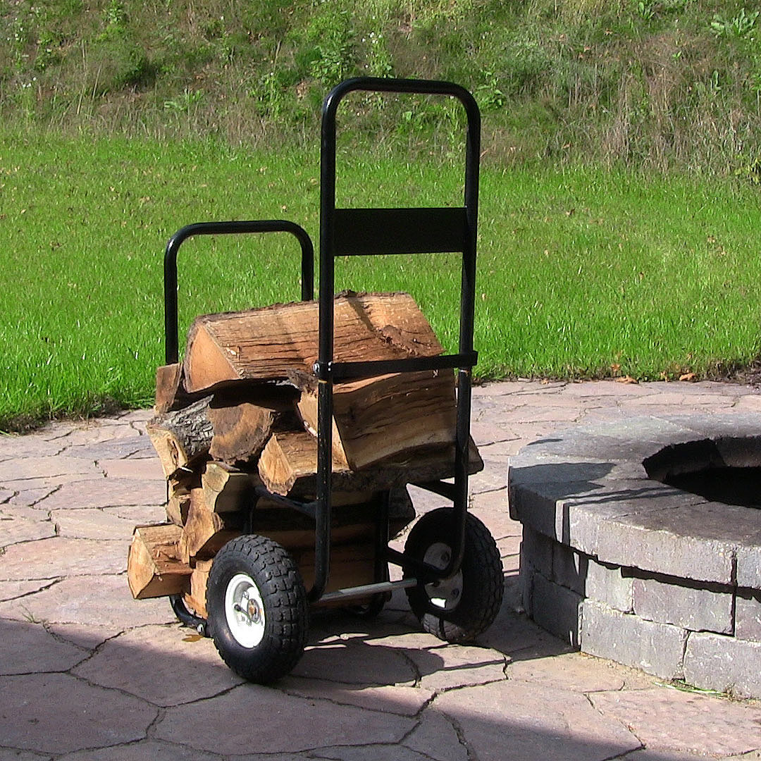 Sunnydaze Firewood Log Cart Carrier with Heavy Duty Waterproof Cover COMBO, Outdoor Wood Rack Storage Mover, Rolling Dolly Hauler