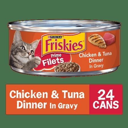 (24 Pack) Friskies Gravy Wet Cat Food, Prime Filets Chicken & Tuna Dinner in Gravy, 5.5 oz. Cans