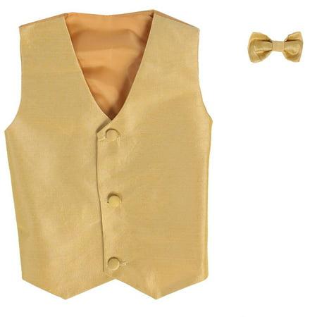 Gold Vest (Boys Gold Poly Silk Vest Bowtie Special Occasion Set)