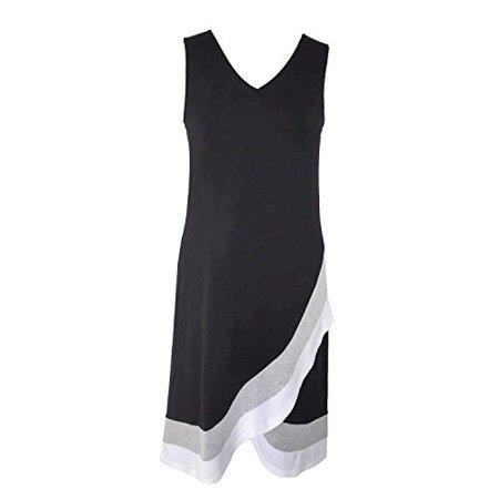 Design History Women's Summer Dress (Small, Black Color - Dress Color Block