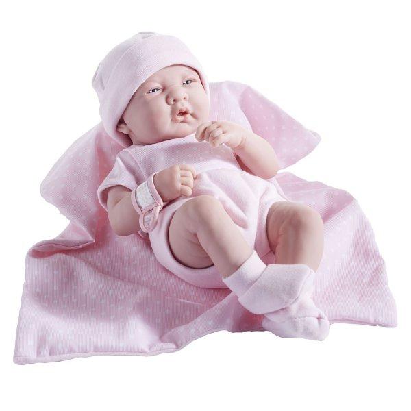 "JC Toys La Newborn Doll 14"" All-Vinyl in 5-piece Pink romper set. REAL GIRL!"