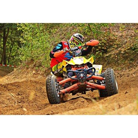 Enduro Atv - Canvas Print Quad Curve ATV Enduro Motocross Cross Stretched Canvas 10 x 14