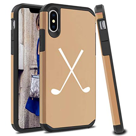 Shockproof SI Impact Hard Soft Case Cover Protector for Apple iPhone Crossed Golf Clubs (Gold, for Apple iPhone XR) (The Simpsons Golf Club Covers)