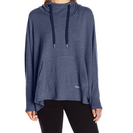 Bench NEW Indigo Blue Womens Size Medium M Hooded Drawstring Sweater