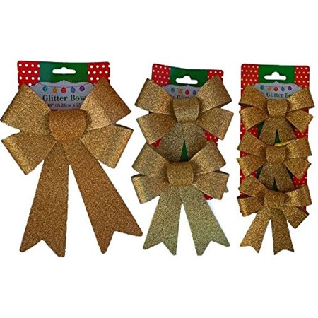 Gold Glitter Bow (Christmas Decoration Holiday Glitter Bows- Red, Green & Gold)