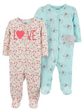 Child of Mine by Carter's Baby Girl Interlock Sleep 'N Play Pajamas, 2-Pack