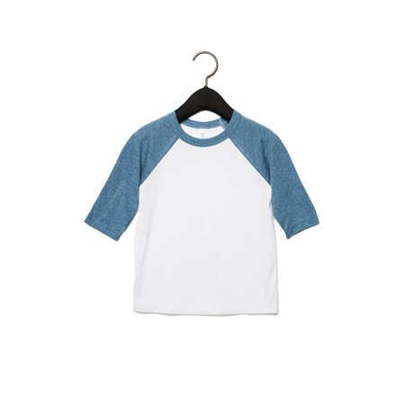 A Product of Bella + Canvas Toddler 3/4-Sleeve Baseball T-Shirt - WHITE/ DENIM - 2T [Saving and Discount on bulk, Code Christo]