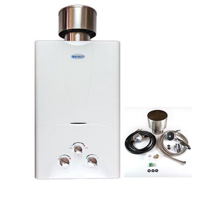 Marey 3.1 GPM Liquid Propane Tankless Water Heater Residential Bundle with Rain Cap, Showerhead, Gas Regulator and