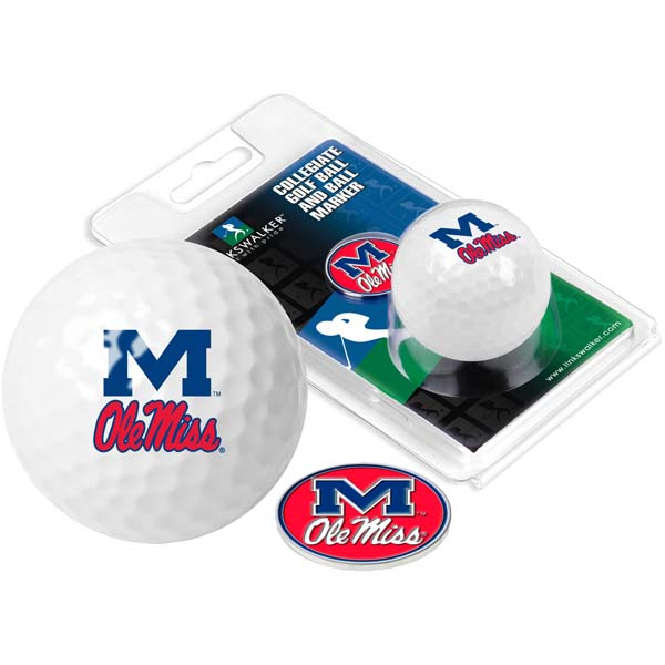 Mississippi Golf Ball One Pack with Marker