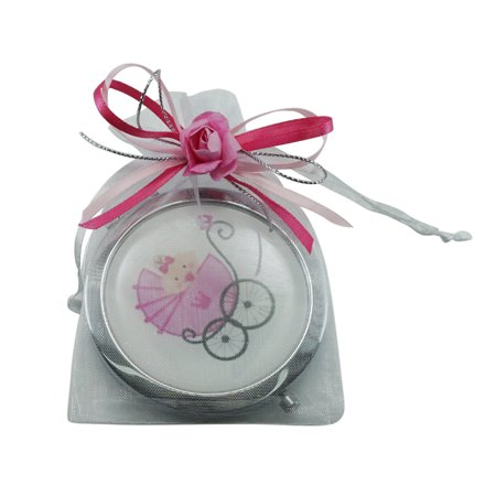 Baby Girl Shower Pink Compact Mirror Favor Makeup Stroller mirrors with Organza Favor bags 12pcs/pack