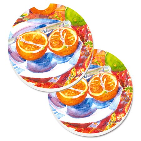 Carolines Treasures 6035CARC Florida Orange Sliced for breakfast Set of 2 Cup Holder Car Coaster - image 1 of 1