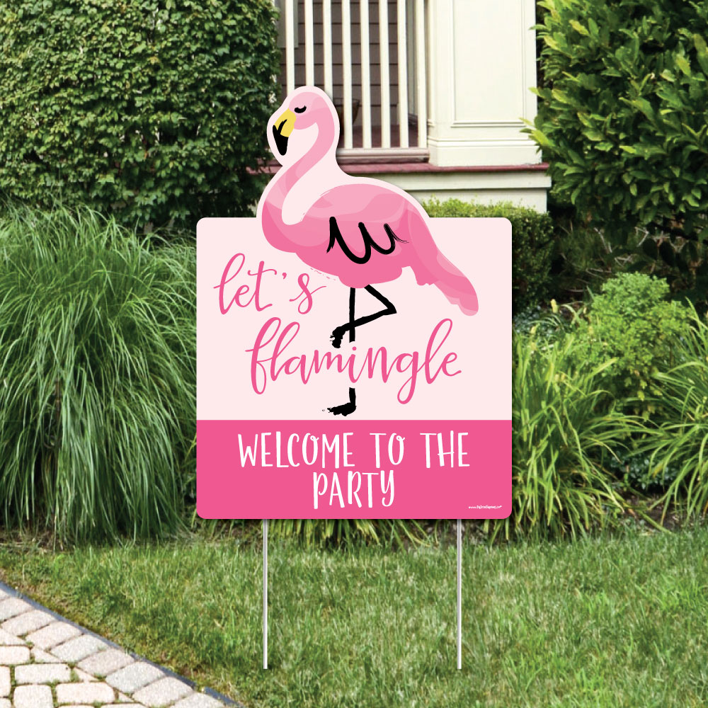 Flamingo - Party Decorations - Birthday Party or Baby Shower Welcome Yard Sign