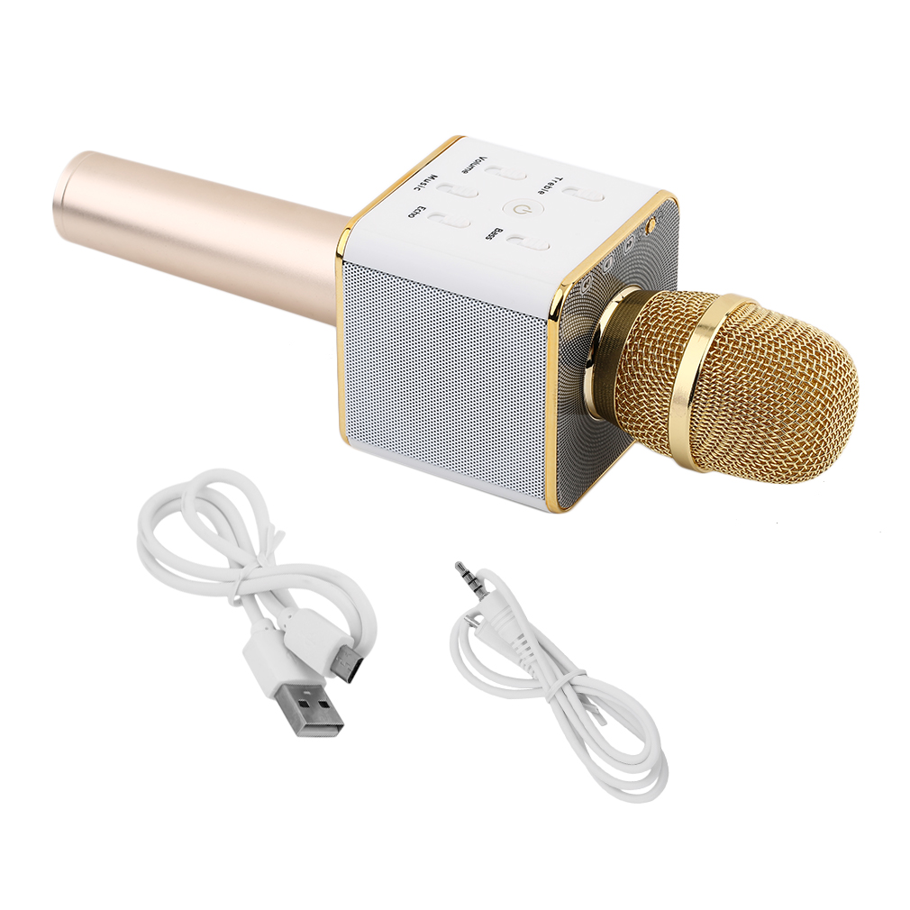 Gold Q7 Handheld Mobile Phone Karaoke Wireless Microphone Golden KTV Player~~ by