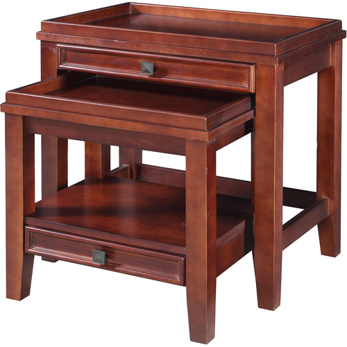 Linon Wander Nesting Tables, Set of 2, Cherry Finish
