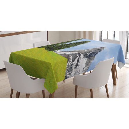Farmhouse Decor Tablecloth, View of Mountain Matterhorn in Peaceful Summer with Sun Rays Meadow Print, Rectangular Table Cover for Dining Room Kitchen, 60 X 84 Inches, Green Blue, by Ambesonne - Ray Of Light Farm Halloween