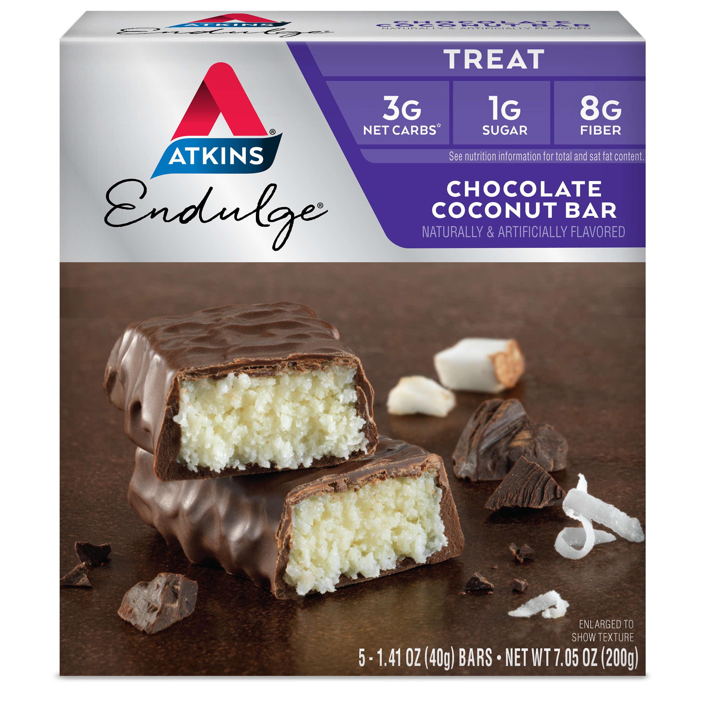 Atkins Endulge Chocolate Coconut Bar, 1.4oz, 5-pack (Treat)