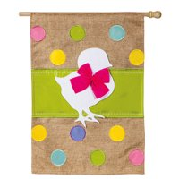 Evergreen Easter Chick Burlap House Flag, 28 x 44 inches