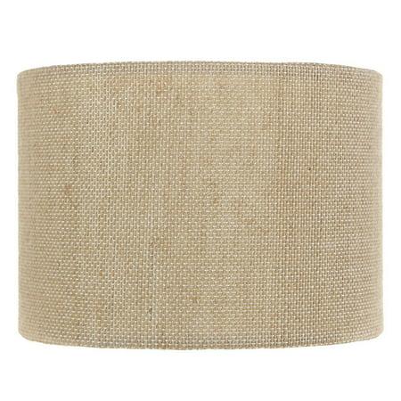 Beige Burlap 5 Inch Retro Barrel Drum Clip on Chandelier Lampshade