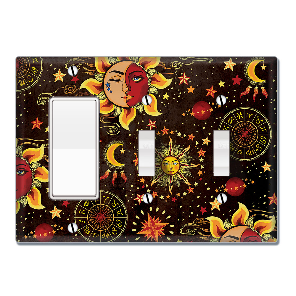Wirester Triple 1 Gang Decorator Light Switch And 2 Gang Toggle Wall Plate Switch Plate Cover Celestial Sun Moon And Stars Walmart Com Walmart Com