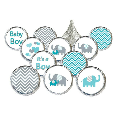 Boy Elephant Baby Shower Stickers, 324ct - Blue Elephant Baby Shower Decorations Little Peanut Boy Baby Shower Favors - 324 Count Stickers