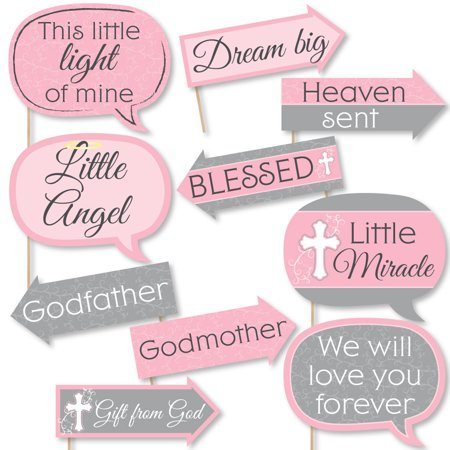 Funny Little Miracle Girl Pink & Gray Cross - Baptism or Baby Shower Photo Booth Props Kit - 10 - Party City Baptism