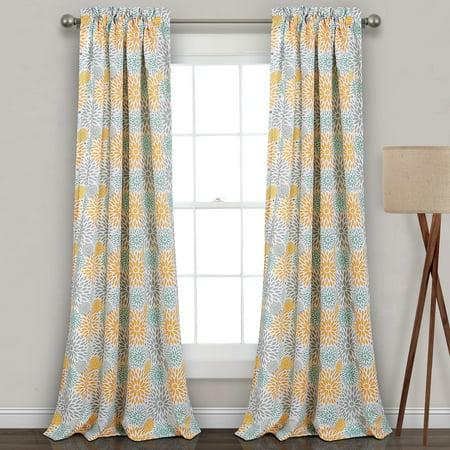 Blooming Flower Room Darkening Window Curtain Panels Yellow/Gray Set 52X84+2
