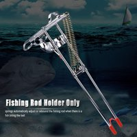 Ymiko Portable Fishing Rod Bracket Practical Dual Spring Fishing Pole Metal Holder Stand Accessory,Fishing Pole Stand,Boat Fishing Support
