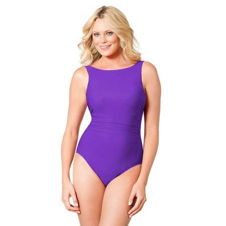 acbee75d07e39 Miraclesuit - Miraclesuit Iris D-Cup Regatta Underwire High Neck Swimsuit  Size 16D - Walmart.com