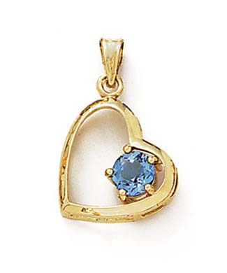 14k Yellow Gold 6mm Blue Topaz Heart Pendant by