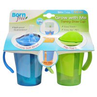 Born Free, Grow With Me Training Straw Cup, Blue and Green, 2 Pack, 6 oz Each(pack of 12)