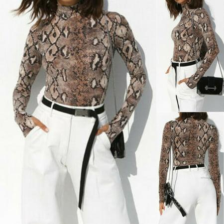 Neo Skin Jumpsuit (Women Long Sleeve Snake Skin Romper Jumpsuit Bodysuit Slim Leotard Shirt Top Size S )