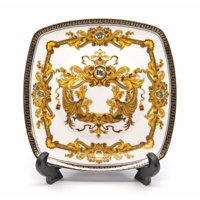 "Royalty Porcelain White 7"" Salad or Dessert Plate, Medusa Greek Key Gold, 1-pc"