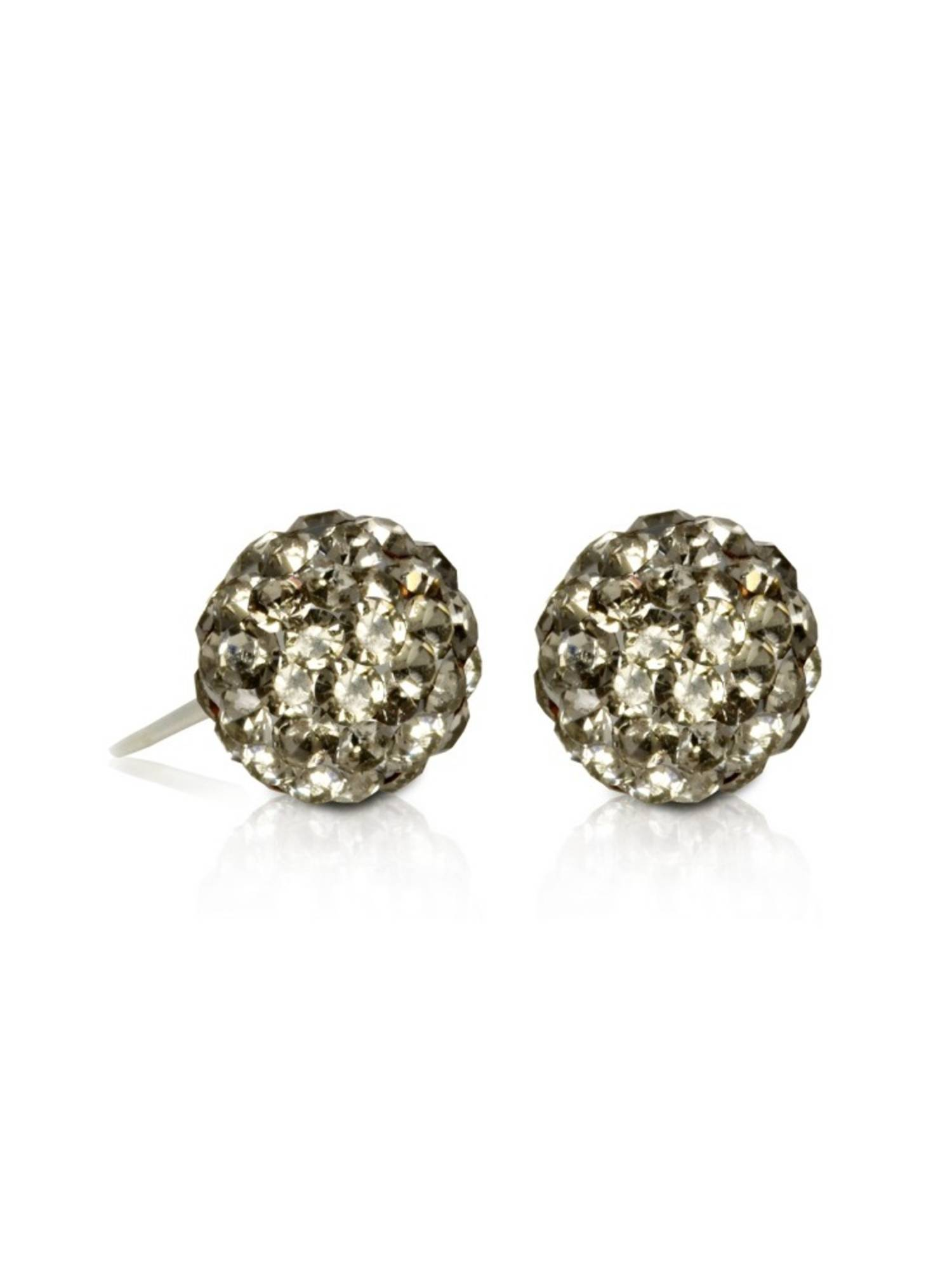Sterling Silver Stunning Brown Pave Crystal Balls Earrings