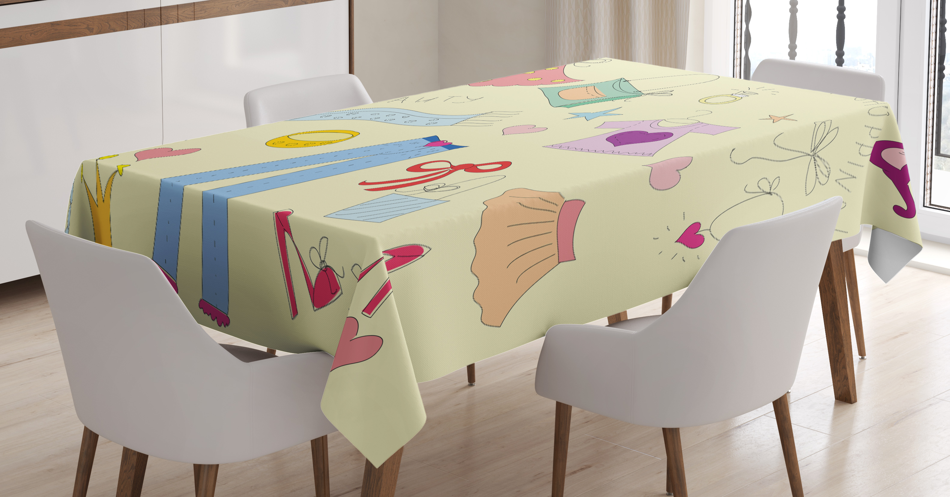 Heels and dresses tablecloth shopping themed doodle items - Stuff for girls rooms ...