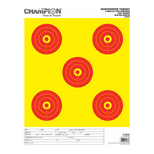 Champion Traps and Targets Shotkeeper 5 Bulls, 12-Pack Bright Yellow/Red, Large