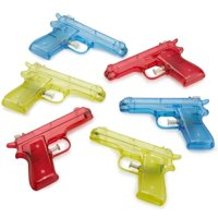 Kidsco 6 Pcs Squirt Water Gun 6 inches Plastic Assorted Colors - Classic Action And Fun Toy, Pool, Prize, Party Favor - By