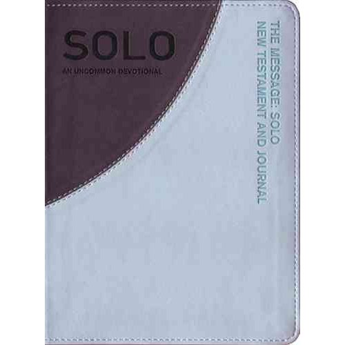 The Message: SOLO New Testament and Journal: Aqua / Gray Leather-Look