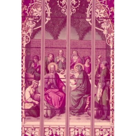 Century Stained Glass - Wedding at Cana  stained glass window  19th Century Poster Print
