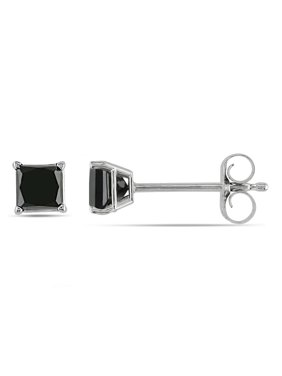 854f8b409e5 Product Image Miadora 10k White Gold 1 2ct TDW Princess-Cut Black Diamond  Stud Earrings