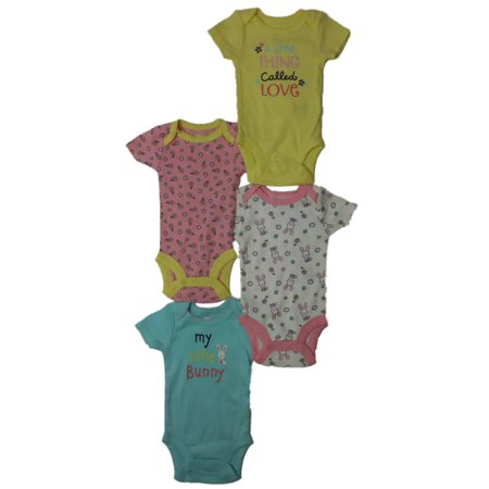 Bunny 4 Piece (Carters Infant Girls Floral Little Bunny Rabbit Outfit Single 4 Piece Set)