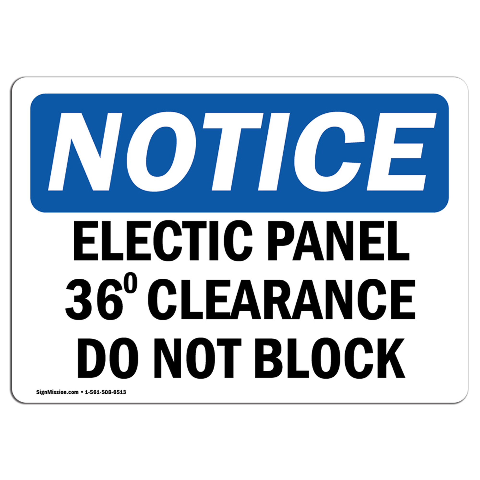 OSHA WARNING Sign Electrical Panel 36 Clearance�Made in the USA