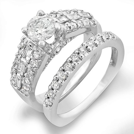 1.30 Carat (Ctw) 14k White Gold Round & Baguette Diamond Bridal Semi Mount Ring Set (No Center Stone)