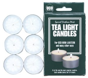 UCO Tealight Candles for Lanterns and General Use (Pack of 6) Multi-Colored